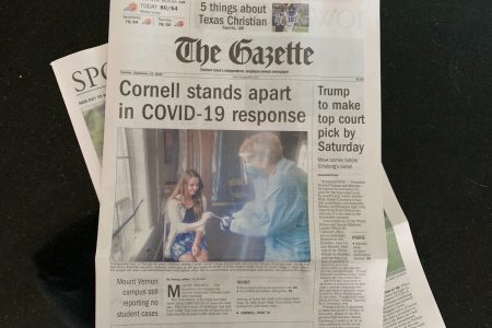 Photo of The Gazette with front page story featuring Cornell College