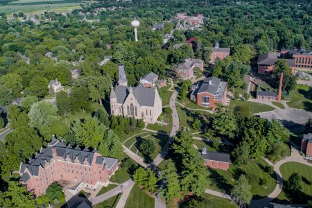 aerial of the Cornell College campus