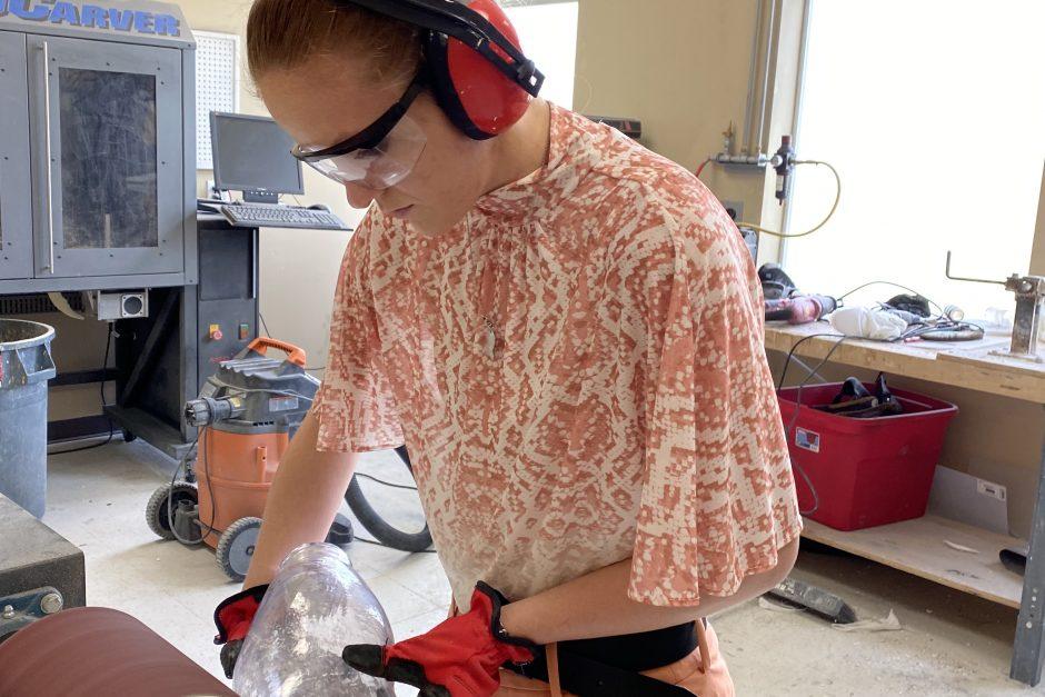 Sarah Carvo working at her internship to make prosthetics