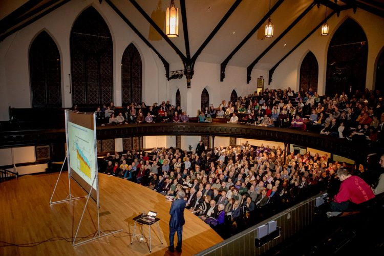 """Nobel prize-winning physicist, former U.S. Energy Secretary, and Delta Phi Rho lecturer Steven Chu speaks in King Chapel on """"Climate Change and InnovativePaths to a Sustainable Future."""""""