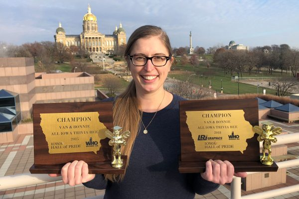 Jessica Rundlett '07, the State Historical Society of Iowa's special projects and outreach coordinator, is an Iowa trivia expert.