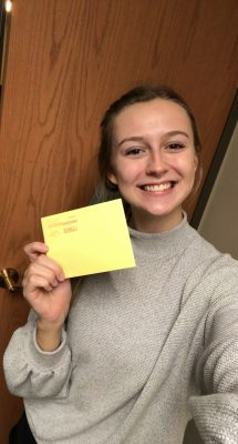 College student with written letter