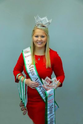 Katelyn Folkmann with crown and sashes