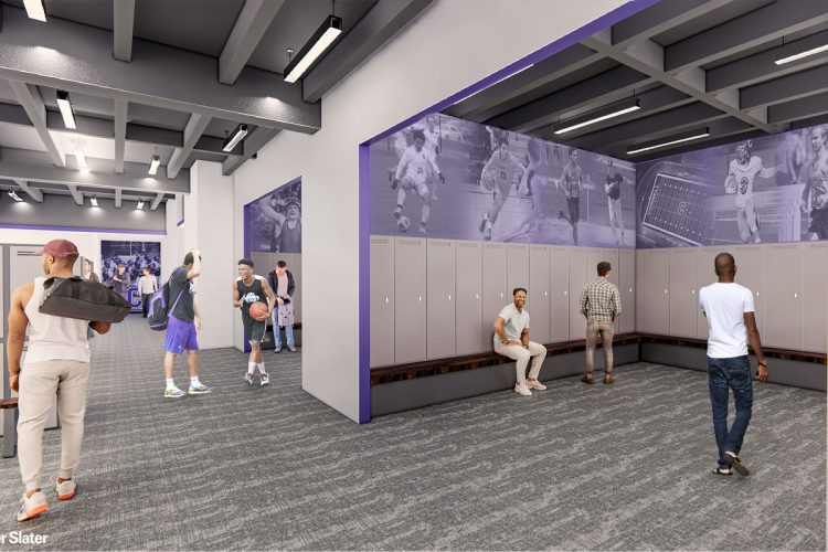 Locker rooms are redesigned and expanded, with the additions of a flex locker room to be used in its entirety or partitioned, and a visiting team-community locker room.