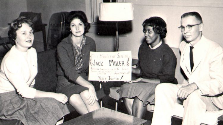Madgetta Thornton Dungy '64 (third from left, with Janet Ricketts Jenkins '62, Paula Stutsman Michel '61, and Leland Bowie '61) is pictured urging students to meet a U.S. Senate candidate visiting campus. (1961 Royal Purple)
