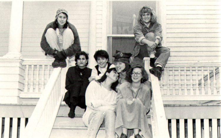 Members of the 1987-88 Women's Affinity Group at Harlan House pose for the Royal Purple. Row 1: Jane Rohr '88, Ann Van Zee '88. Row 2: Jennifer Surgal '91, Jenna Shearn '89, Mary Kwakenat '90. Row 3: Marianne Pyott '91, Lauri McKean '91. Not pictured: Jill Ashley-Grochowski '89, Jane Dohrmann '88, Renee Getter '89, Joanne Gipson Brady '89, Marie Lavigne '88. (1988 Royal Purple)
