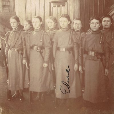 The Cornell Ladies Battalion in 1897-98. The uniformed women have rifles as well as bayonets hung in scabbards.