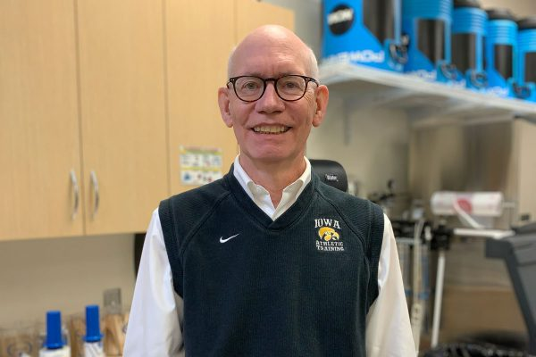 As a senior athletic trainer at the University of Iowa, Michael Lawler '77 has worked with elite athletes and traveled with teams for over 28 years.