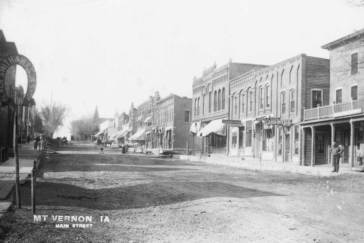 Mount Vernon's Main Street east looking west, circa 1910. Only the large corner building on the right side of the street remains. Photo courtesy of Mount Vernon Historic Preservation Commission