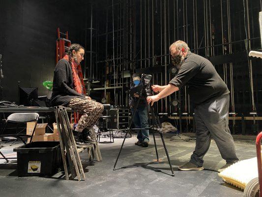Left to right: Jenna Makkawy, West, Scott Olinger filming in Kimmel theatre.