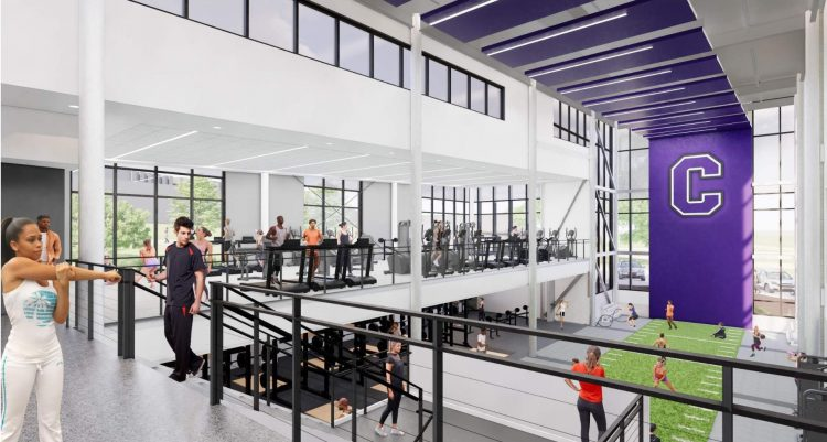 The upper level of the fitness area is for the entire campus, while the lower level primarily allows for more advanced workouts. Both floors are visually open to one another, fostering a sense of community.