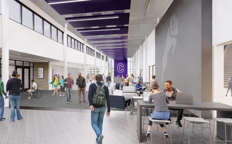 The central lobby will be a gathering space and area for Cornellians and guests to sit, relax, and enjoy the building.