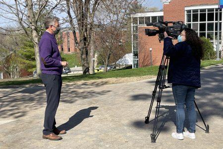 President Jonathan Brand getting interviewed by CBS2 photojournalist