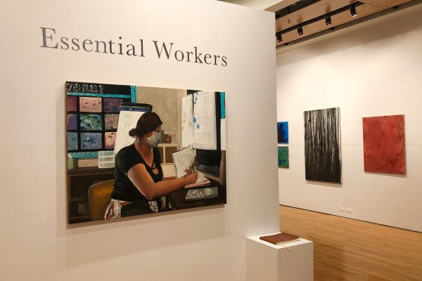 "Portions of Emma Kamerer's exhibit ""Essential Workers"" (left) and Isaac Wolf's show, ""Acrylic Apparitions "" (right)"