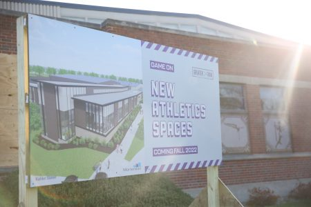 sign in front of Small Sport Center that notes construction is underway