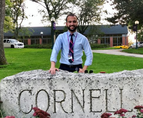 Sunny Khan, Class of 2021, by the Cornell sign