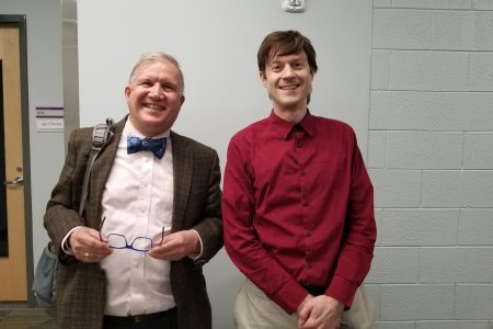 Associate Director of Career Coaching & Experiential Learning Mark Kendall and Professor Leon Tabak smiling for a picture