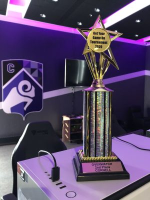Trophy sitting in the Cornell College esports arena
