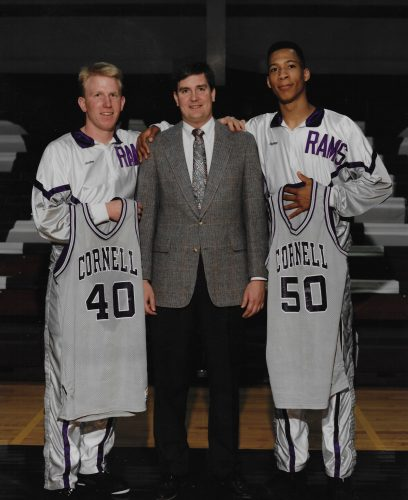 Wes Butterfield '91 (right) with Scott Denker '91 and Coach Gary Grace.