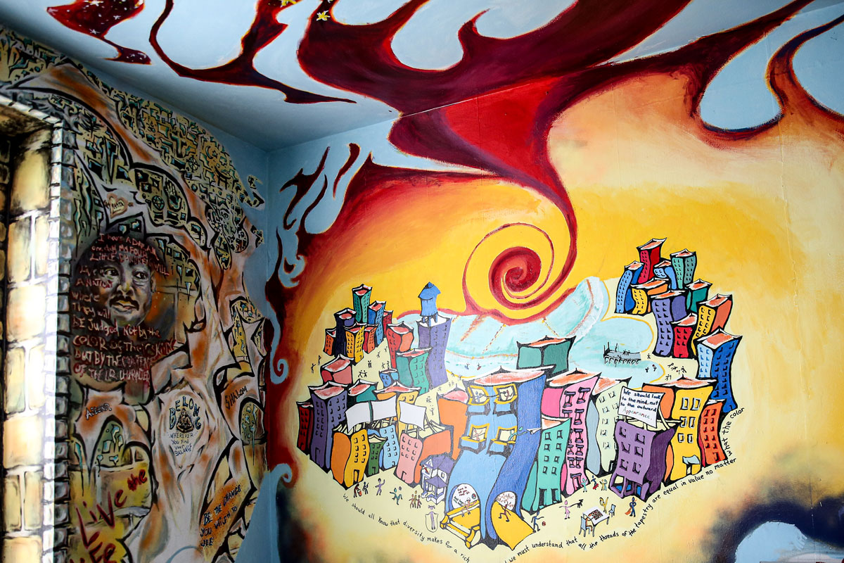 A mural in Stoner House, the home of Cornell's Intercultural Life Office.