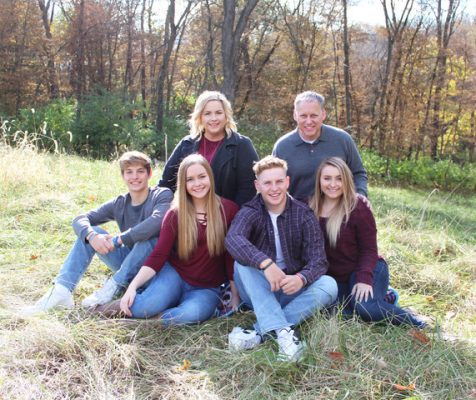 Gilliland with his wife Holly and his four children, Madison (21), Max (18), and twins Ben and Emma (16).
