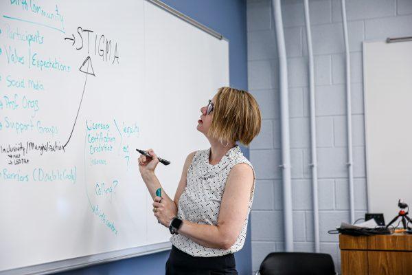 Ringer Distinguished Professor of Sociology Tori Barnes-Brus writes on a white board