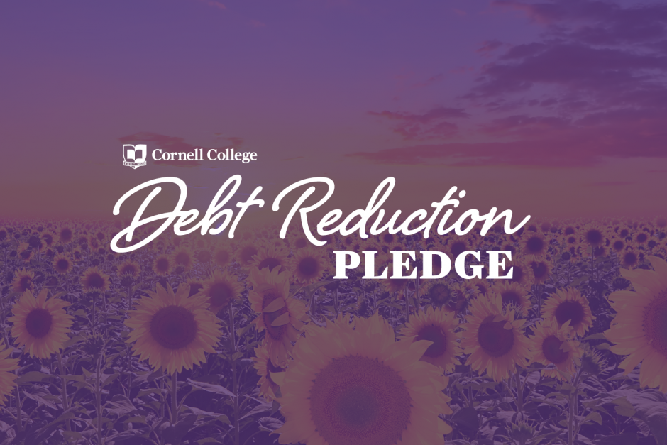"""Sunflower field with the words """"Debt Reduction Pledge"""""""