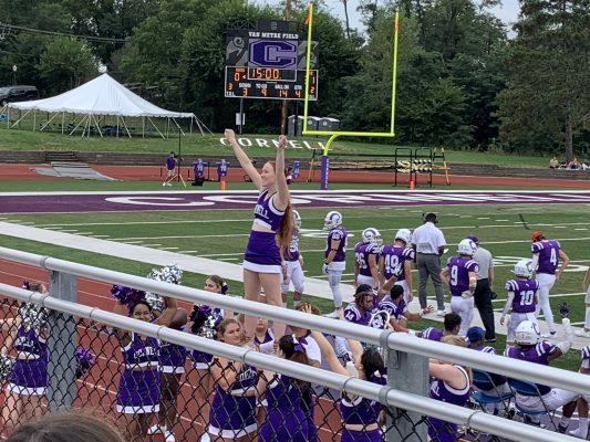 cheerleaders cheering on the Rams during the first football game of the season